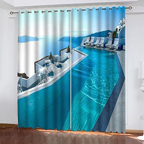 ZZZXX Tende Oscuranti Occhiello 2 Pannelli Paesaggio di Santorini 140X160cm Tende Oscuranti E Termoisolanti per Finestre/Pannelli/Tende per Camera da Letto 2 Pannelli