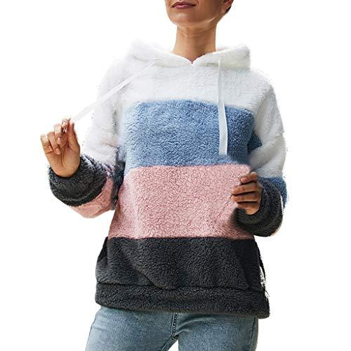 Moonuy Frauen Patchwork Kapuzenpullover Dame Plüsch Sweatshirt Mode Bluse Tops Baumwolle Langarm Plus Size Bleistift Sweatshirt