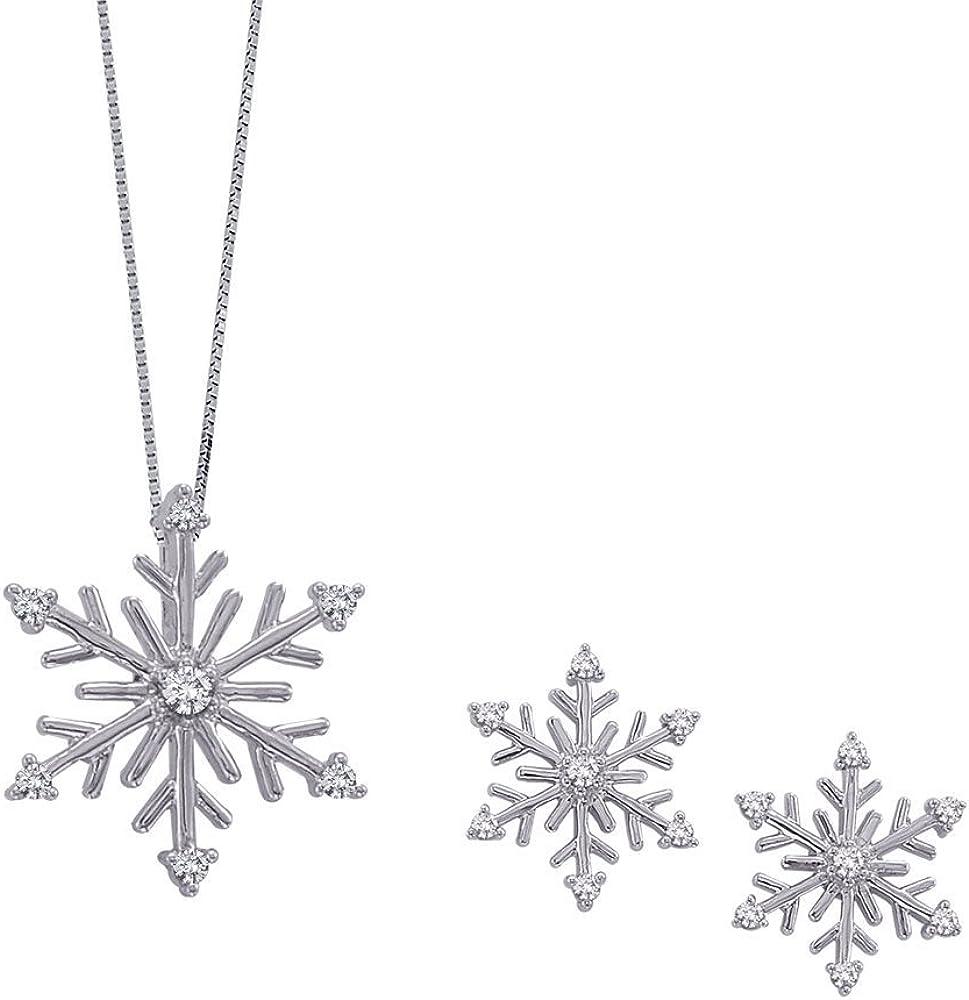 KATARINA Diamond ''Snow Flake'' Jewelry Set in 14K White Gold (1/5 cttw)