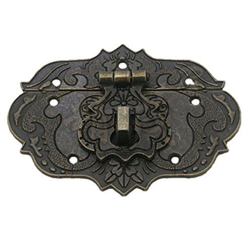 SODIAL Pestillo Cerrojo Corchete de 77 mm x 57 mm Caja de herramientas del pecho Caja de madera tono de bronce
