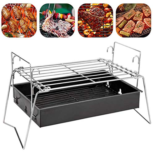 YGB Haushaltsgrill Grill Tragbarer Holzkohlegrill, Mini-Grill Grill Klappbarer Lagerfeuergrill Leichtes Stahlnetz für Camping Outdoor Camping Kochen Wandern