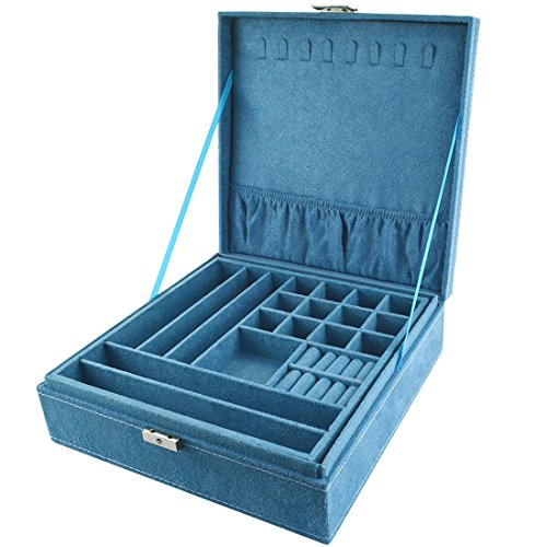 Bantoye Double-Layer Jewelry Box Suede Lint Square Display Storage Case with Lock Blue 10.4'x10.4'x3.4'