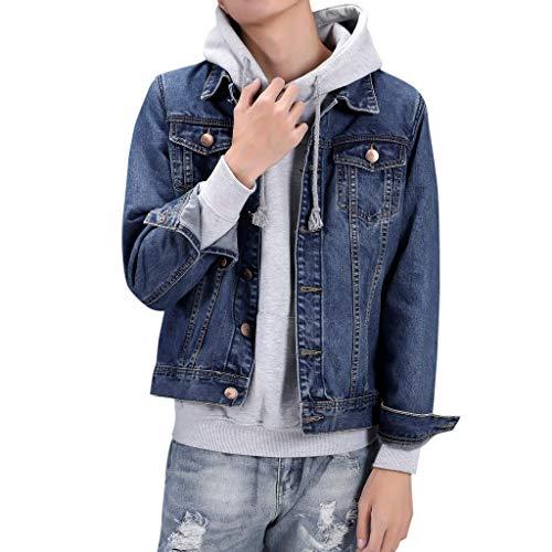 FRAUIT heren jeansjas casual denim zakjack voor mannen lange mouwen sweatshirt tops blouse outwear mantel rider jack trucker jas jeansjack