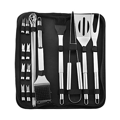 New YANGMAN-BJ 20 Pcs Barbecue Grill Utensils Kit Stainless Steel BBQ Tools Set with Storage Bag Ide...