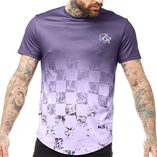 Tyoby Herren Slim Fit T-Shirt Steigung Drucken Sports Tops Modisch Fitness Herrenbekleidung(Lila,XL)