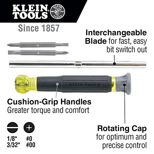 Klein Tools 32581 Precision Screwdriver Set, 4-in-1 Electronics Screwdriver with Industrial Strength Phillips and Slotted Bits