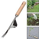 lymty Garden Hand Weeder Jäter Premium Gartengerät mit Naturholzgriff zum