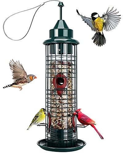 Bird Feeder with 4 Feeding Ports,Hanging Wild Bird feeders...