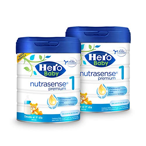 Hero Baby Nutrasense Premium 1 - Leche de Inicio en Polvo para Bebés hasta los 6 Meses, Crecimiento y Desarrollo - Pack de 2 x 800g