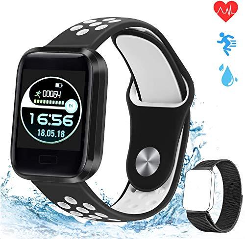 obqo Fitness Tracker Slimme horloges met hartslag Bloedzuurstof Slaapmonitor Stappenteller Calorie Stappenteller Bellen en sms-herinnering Waterdicht IP67 voor Heren Dames Kinderen IOS Android