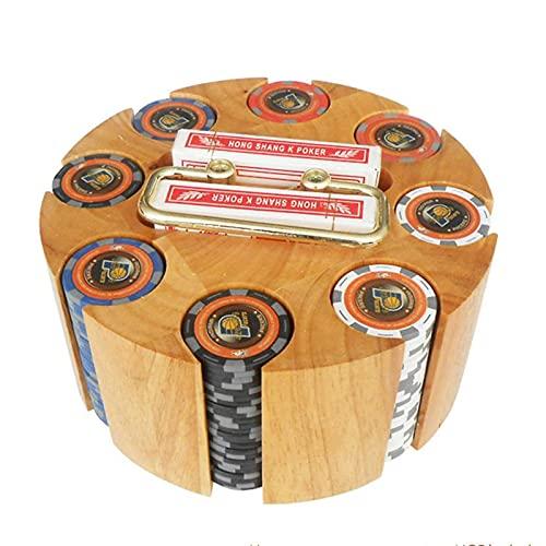 Vassoio porta fiches da poker rotante, set di fiches da poker in custodia a giostra in legno, accessori per feste al casinò per blackjack, Texas Hold'em, giochi per famiglie, capacità di 300 fiches