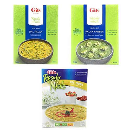Gits レトルト インドカレー - Dal Palak 300g + Palak Paneer 285g + Dal Tadka 300g - 3点セット - 日本語レシピ付き (gits 3pack set)