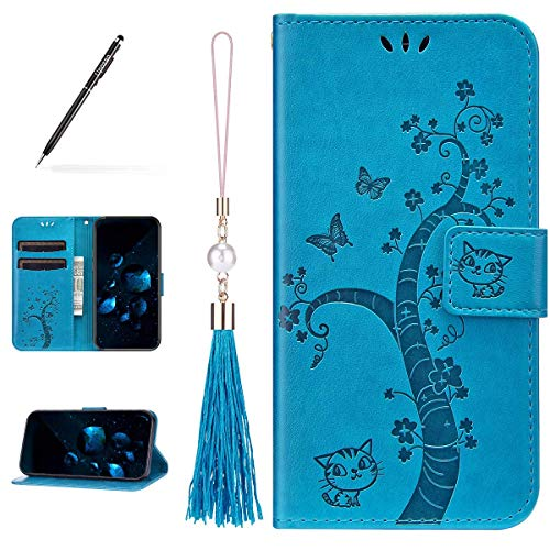 Uposao Kompatibel mit Huawei P Smart 2020 Hülle Leder Katze Baum Muster mit Quaste Anhänger Hülle Flip Schutzhülle Brieftasche Handyhülle Wallet Bookstyle Case Magnet Kartenfach,Blau
