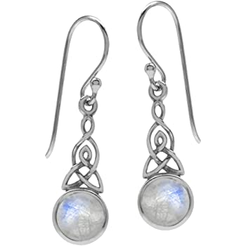 Naturel Ovale RAINBOW MOONSTONE Sterling 925 Argent Dangle Crochet Boucles D/'oreilles 1.25/""