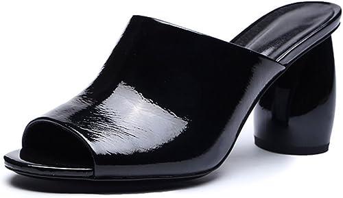 Zoueroih Chaussons de Femmes Talon Haut épais avec des Sandales et des Pantoufles Confortables pour Les Les dames (Couleur   Noir, Taille   39 1 3 EU)