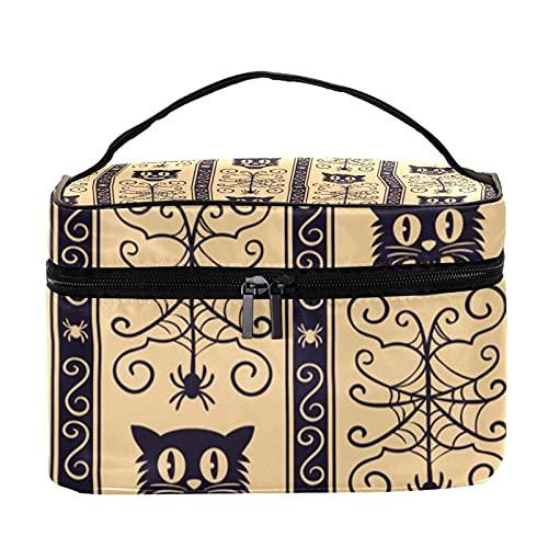Bolsas de maquillaje para mujeres y nis Estuche organizador de cosmicos de mano bolsa portil de viaje bolsa de aseo de Halloween patr髇 de bruja y murci閘ago, Multicolor 7 Neceser