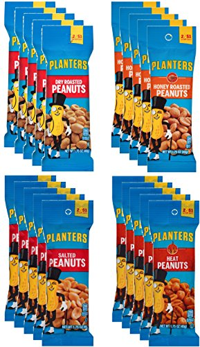 Planters Peanuts Single Serve Variety Pack, 4 Flavors, 1.75 oz Tubes (Pack of 20)