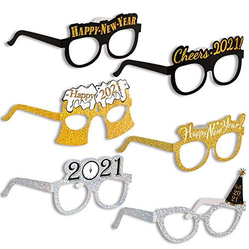 Konsait Happy New Year Eyeglasses Metallic Glitter NYE Decorative Eyeglasses Frame Photo Prop Celebration Frame Photo Prop for 2021 New Years Eve Party Favors Supplies Decoration, Pack of 24