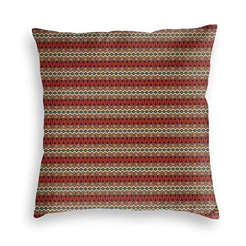 GULTMEE Decorative Cushion Cases Throw Pillow Covers,Horizontal Native Aztec Borders with Ethnic and Geometric Motifs in Hand Drawn Style