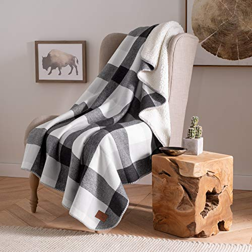 Pendleton Plaid Cotton Sherpa Throw– Soft Plush Blanket - Black/Ivory