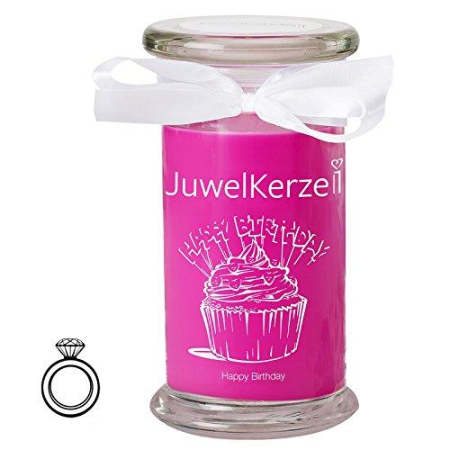 JuwelKerze Happy Birthday - Duftkerze im Glas mit Schmuck Überraschung (Silber Ring)(M)