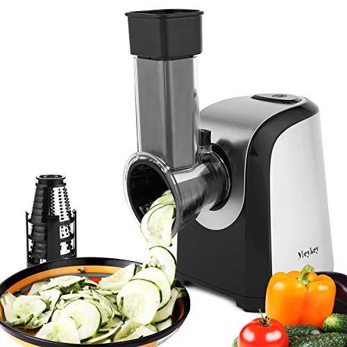 COOCHEER Elektrischer Gemüseschneider Gemüsehobel, 150W Elektrische Küchenreibe Zerkleinerer Gemüseraspe mit 4 Kegel-Klingen