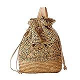 Demarkt - Bolso de mano para mujer, con cordón, diseño de flores, ganchillo, cuerda de papel, mochila, paja, bolso de playa, bolso de mimbre, para playa y vacaciones