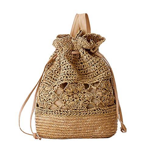 Demarkt Bolso de paja para mujer, con cordón, diseño de flores, ganchillo, cuerda de papel, mochila, paja o playa, de ratán