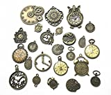 24pcs Steampunk Gears and Cogs Antique Bronze Clock Faces Mixed Charms Pendant for Necklace Bracelet DIY Jewelry Making