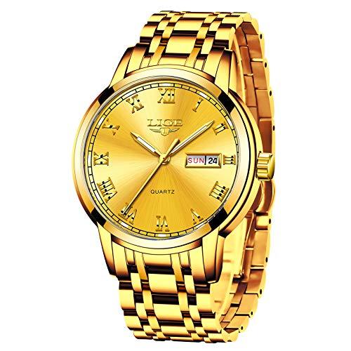 Relojes Hombres LIGE Marca Reloj de Cuarzo analógico de Acero Inoxidable a Prueba de Agua Hombre Fecha Vestido Casual de Negocios Reloj Hombre de Pulsera Reloj de línea Azul quadrante Blue (G)
