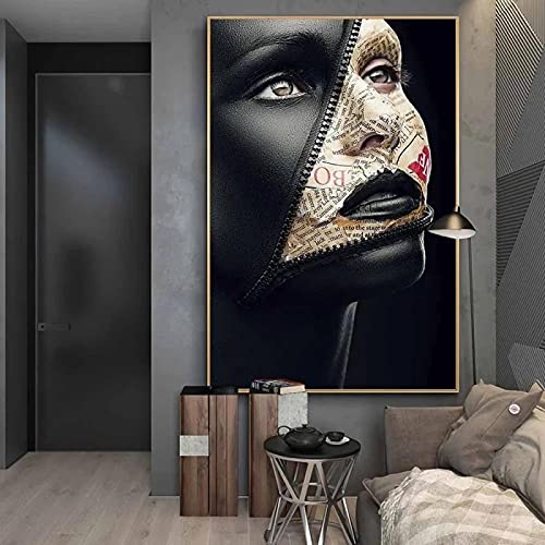 Aawerzhonda Leinwand Poster Bilder Zeitungs-Cover Gesicht Kreative Kunst Poster Sexy Modelle an der Wand Kunst Make-up Bilder Wanddekor 60x90cm