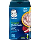 Gerber Baby Cereal Hearty Bits Multigrain Cereal Banana Apple Strawberry, 8 Ounce, Pack of 6