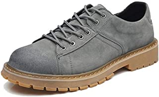 Sunny&Baby Work Boot for Men Low Top Boots Lace Up Genuine Leather Retro Waxy Shoelaces Flat Breathable with High-Traction Grip Hiking Walking Durable (Color : Gray, Size : 6 UK)