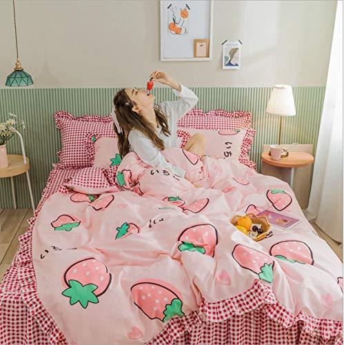 DUIPENGFEI 4-Piece Set Of 100S Long-Staple Cotton Bed, Pastoral Style Duvet Cover Set, Pink, Set King 220X240Cm