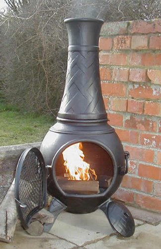 Castmaster Chiminea Cast Iron Braided Design -Black Finish