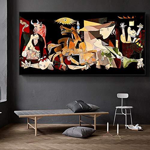 HYFBH Famoso Picasso Guernica Art Canvas Painting Poster e Stampe astratte Immagini di Arte della Parete per Soggiorno Decorazione Domestica 60x120cm (24x47in) Cornice Interna