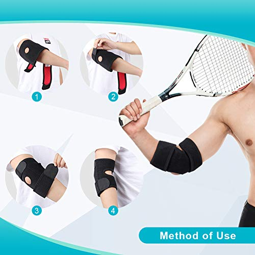 Tennis Elbow Support Brace for Golfers and Tendonitis, Arm Wrap Strap Band Arthritis, Compression Adjustable Neoprene Sleeve for Left and Right Size Fits Man and Women, Reversible Stabilizer