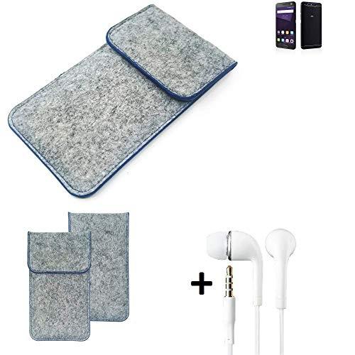 K-S-Trade Filz Schutz Hülle Für ZTE Blade V8 64 GB Schutzhülle Filztasche Pouch Tasche Handyhülle Filzhülle Hellgrau, Blauer Rand + Kopfhörer