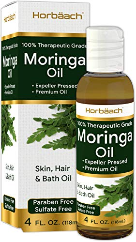 Premium Moringa Oil 4 oz   Paraben Free, Sulfate Free, Non-GMO   Max Hydration For Hair, Skin and Face   By Horbaach