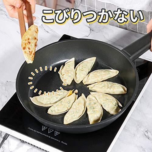 SKY LIGHT フライパン IH ガス対応 24cm スタイリッシュな片手鍋 焦げ付きにくい チタン 5層コーティング 食器洗機対応