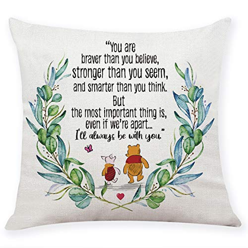 "chillake Classic Winnie The Pooh Quotes Pillow Covers Gifts- Pooh Pillow Case Cushion Cover for Sofa Couch Decor - Funny Best Friend Friendship Quote Gift (18""x 18""Inch)"