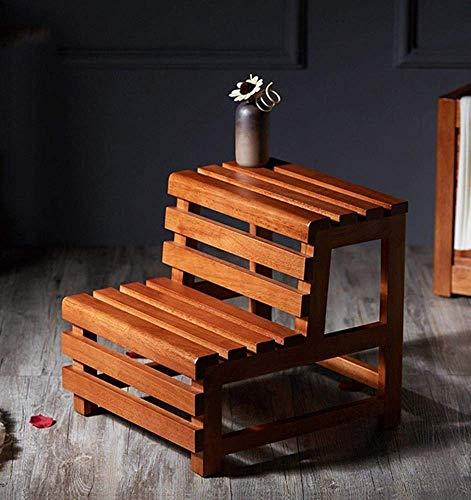 QFQ Fácil y conveniente de múltiples funciones plegable taburete de paso, Inicio de madera maciza de poner un pie Familia auxiliar Escalera Marco Personalizado decorativo escalera flor de la ventana