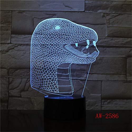 Nndxh Snake 12 Sternzeichen 3D Nachtlicht LED Neuheit Touch Schreibtischlampe 7 Farben Ersatz Tisch USB Lampe Zimmerdekoration Lampe