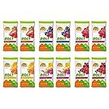 - Bolt Organic Energy Chews, paquete variado, fresa, baya Blast, naranja, frambuesa, limonada rosa, granada de arándano, sin OMG, sin gluten, certificado USDA orgánico (12 unidades)