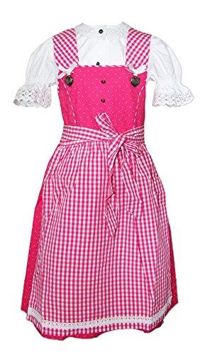 Isar-Trachten Kinder Dirndl Michelle 3-TLG. Pink Gr. 116 - Marken Kleid mit Bluse und Schürze