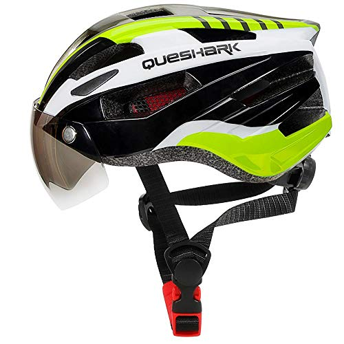 Queshark Casco da Mountain Bike Traspirante con Luce Posteriore Staccabile UV Protezione Magnetica Occhiali Visiera per Uomini e Donne Ciclismo Caschetto