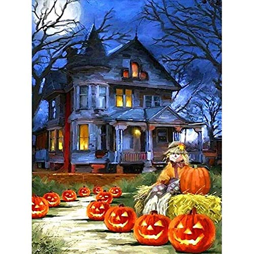 DIY 5D Diamond Painting by Number Kits,Diamond Painting Kits for Adults Beginner for Decoration Halloween Haunted House 11.8x15.7 in by BOYIsy