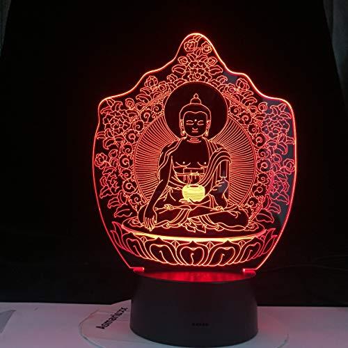 Lámpara de mesa creativa Budista Buda sensor táctil lámpara de mesa 3D USB acrílico multicolor LED regalo de vacaciones