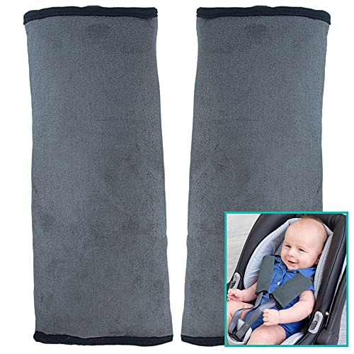 Bebe Style Baby Seat Belt Pads Cover, Car Safety Seatbelt Straps, Soft & Comfortable Shoulder Strap Pad for Toddlers & Kids, Fits Cars and Strollers, 2-Pack