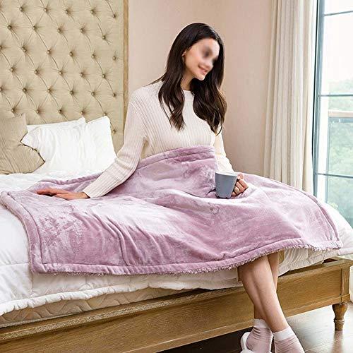 CRYX elektrische verwarmingsdeken, flanel 150 x 80 cm en lamsvacht, machinewasbaar, luxueus, op een deken voor bank, met 9 warmtestanden